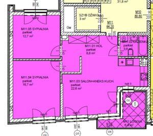 Mieszkanie 11 Trzypokojowe